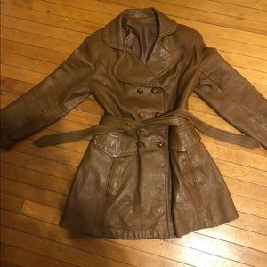 Beautiful pleather double buttun up peacoat
